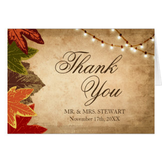 Rustic Fall Wedding Thank You Card | Autumn Leaves