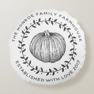 Rustic Family Farmhouse Pumpkin Wreath Round Pillow