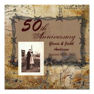 "Rustic Farm Barbed Wire country anniversary party 5.25"" Square Invitation Card"