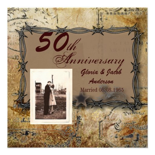 Rustic Farm Barbed Wire country anniversary party Personalized Invites