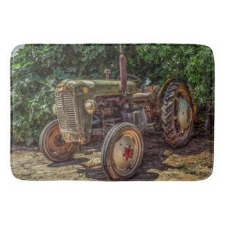 Rustic farm tractor bath mat