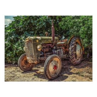 Rustic farm tractor photo print