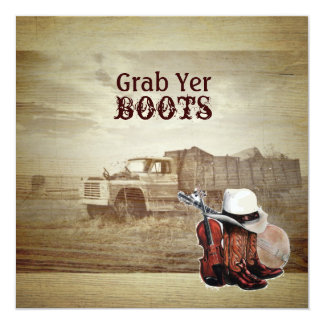 Rustic Farm Truck Western Country Wedding Card