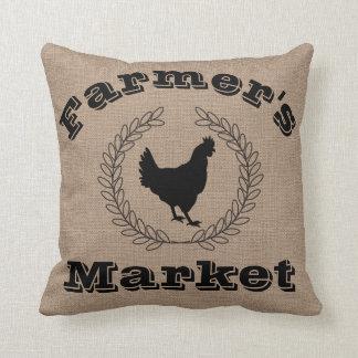 Rustic Farmer's Market Black Laurels & Hen Throw Pillow