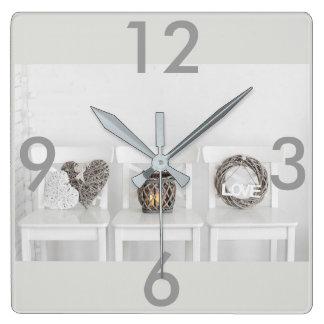 Rustic Farmhouse Chairs White Wall Clock