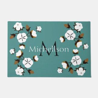 Rustic Farmhouse Cotton Flowers & Family Name Doormat