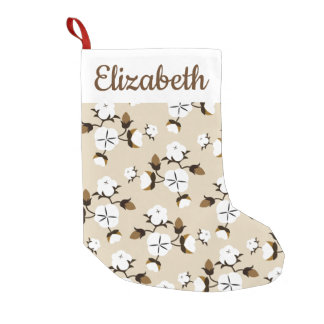 Rustic Farmhouse Cotton Flowers & Name Small Christmas Stocking