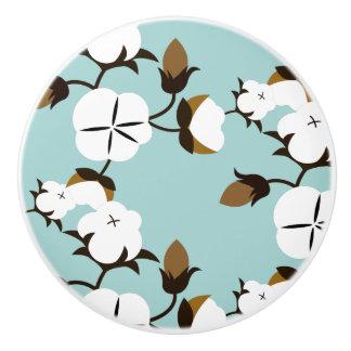 Rustic Farmhouse Cotton Flowers & Teal Ceramic Knob