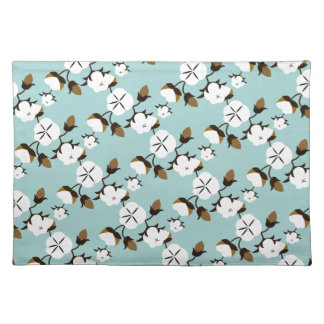 Rustic Farmhouse Cotton Flowers & Teal Placemat