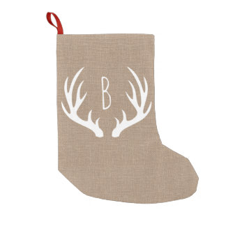 Rustic Farmhouse Country Deer Antlers Faux Burlap Small Christmas Stocking