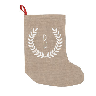 Rustic Farmhouse Country Laurels Faux Burlap Small Christmas Stocking