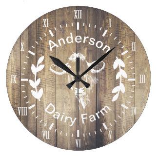 Rustic Farmhouse Dairy Farm Cow & Family Name Large Clock