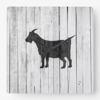 Rustic Farmhouse Goat Wood Panel Square Wall Clock