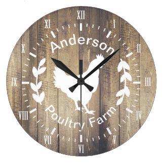 Rustic Farmhouse Poultry Farm Hen & Family Name Large Clock