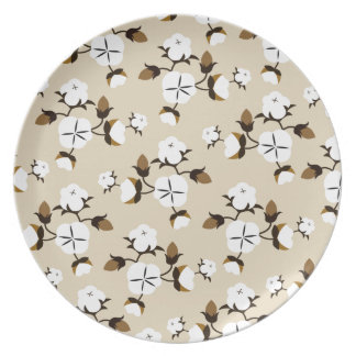 Rustic Farmhouse Style Cotton Flowers Plate