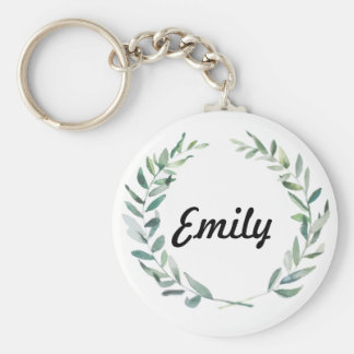 Rustic Farmhouse Watercolor Magnolia Wreath Design Keychain