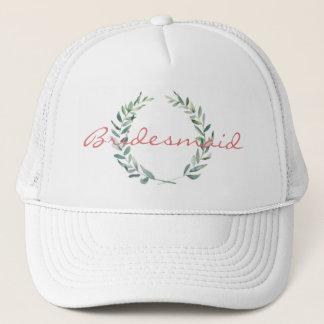 Rustic Farmhouse Watercolor Magnolia Wreath Design Trucker Hat