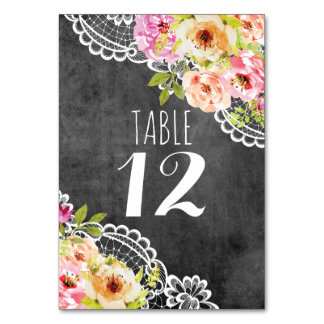 Rustic Farmhouse Wedding Roses & Lace Chalkboard Table Cards
