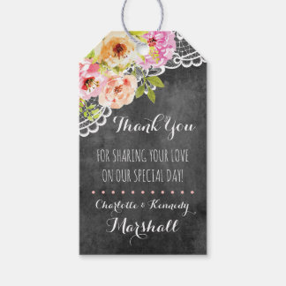 Rustic Farmhouse Wedding Roses & Lace Thank You Gift Tags