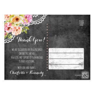 Rustic Farmhouse Wedding Roses & Lace Thank You Postcard