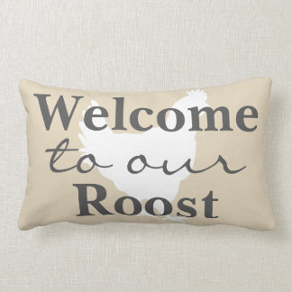 Rustic Farmhouse Welcome to Our Roost Hen & Name Lumbar Pillow
