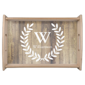 Rustic Farmhouse White Country Laurels Family Name Serving Tray