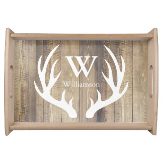 Rustic Farmhouse White Deer Antlers Family Name Serving Tray