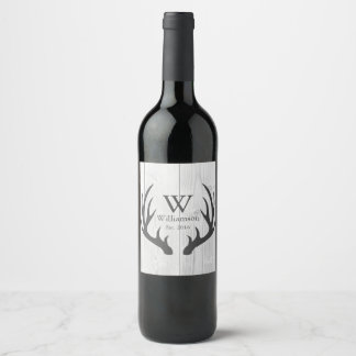Rustic Farmhouse White Wood Gray Deer Antlers Wine Label