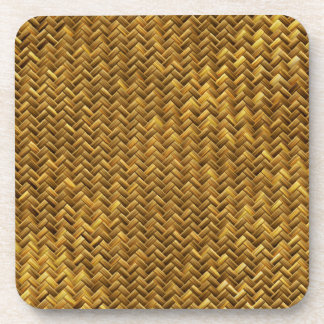 Rustic Faux Bamboo Basket Weave Pattern Texture Beverage Coasters