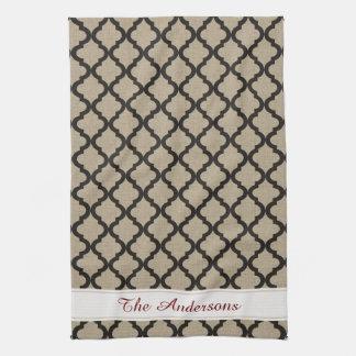 Rustic Faux Burlap and Black Moroccan Quatrefoil Kitchen Towel