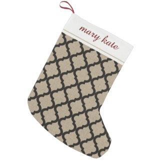 Rustic Faux Burlap and Black Moroccan Quatrefoil Small Christmas Stocking