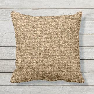 Rustic Faux Burlap Argyle Squares Pattern Throw Pillow