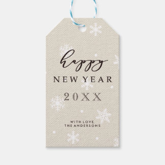 Rustic Faux Burlap Canvas Texture Happy New Year Gift Tags