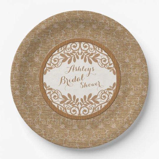 Rustic Faux Burlap Lace Wood Wedding Bridal Shower 9 Inch Paper Plate