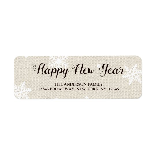 Rustic Faux Burlap Texture Happy New Year Address