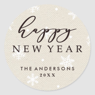 Rustic Faux Burlap Texture Happy New Year Holiday Classic Round Sticker