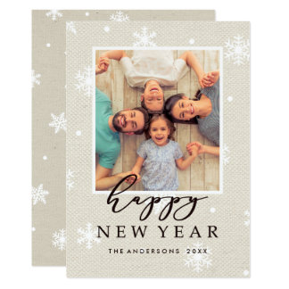 Rustic Faux Burlap Texture Happy New Year Photo Card