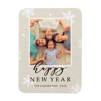 Rustic Faux Burlap Texture Happy New Year Photo Magnet