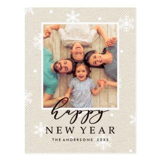Rustic Faux Burlap Texture Happy New Year Photo Postcard