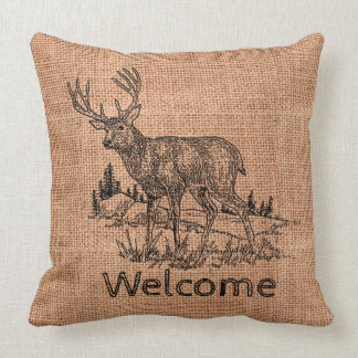 "Rustic Faux Burlap ""Welcome"" & Deer Illustration Throw Pillow"
