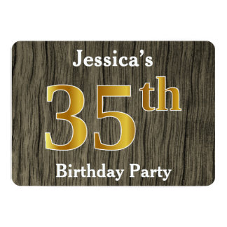 Rustic, Faux Gold 35th Birthday Party; Custom Name Card