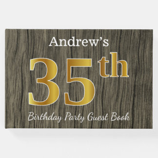 Rustic, Faux Gold 35th Birthday Party; Custom Name Guest Book