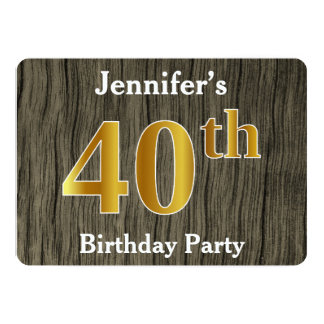 Rustic, Faux Gold 40th Birthday Party; Custom Name Card