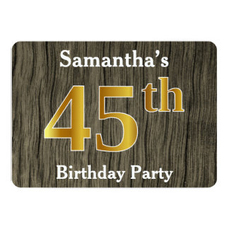 Rustic, Faux Gold 45th Birthday Party; Custom Name Card