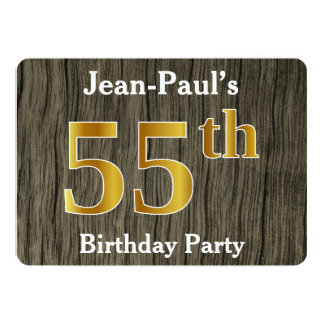 Rustic, Faux Gold 55th Birthday Party; Custom Name Card