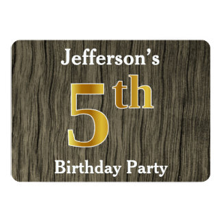 Rustic, Faux Gold 5th Birthday Party; Custom Name Card