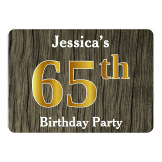 Rustic, Faux Gold 65th Birthday Party; Custom Name Card