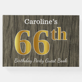 Rustic, Faux Gold 66th Birthday Party; Custom Name Guest Book