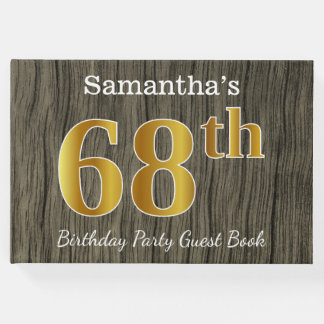 Rustic, Faux Gold 68th Birthday Party; Custom Name Guest Book