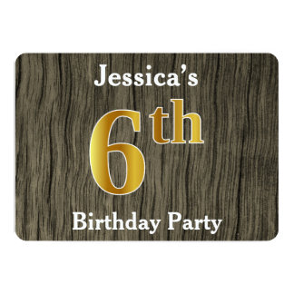 Rustic, Faux Gold 6th Birthday Party; Custom Name Card